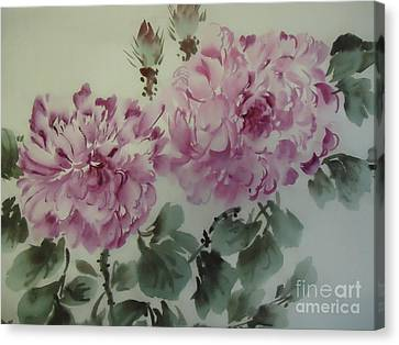 Canvas Print featuring the painting Purle Flower427012-10 by Dongling Sun