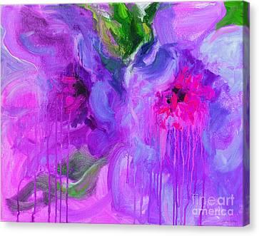 Drips Canvas Print - Purple Abstract Peonies Flowers Painting by Svetlana Novikova