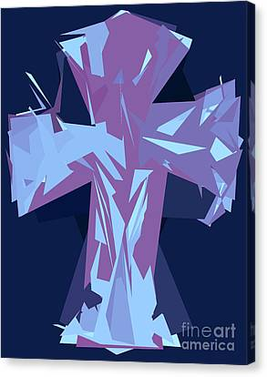 Purple And Blue Abstract Cross Design Pattern Canvas Print by Minding My Visions by Adri and Ray