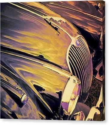 Purple And Gold Antique Jaguar - Square Canvas Print by Lyn Voytershark