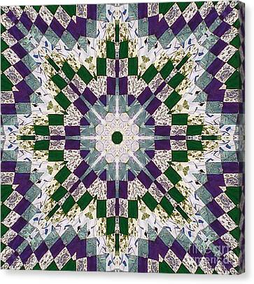 Purple And Green Patchwork Art Canvas Print by Barbara Griffin