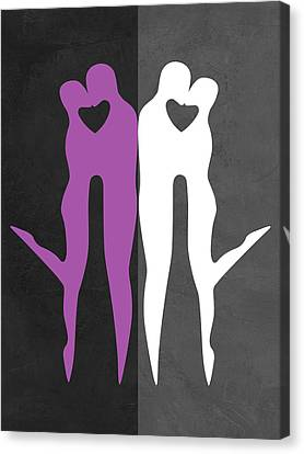 Making Canvas Print - Purple And White Kiss by Naxart Studio