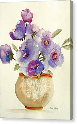 Purple Anemones In A Vase Canvas Print