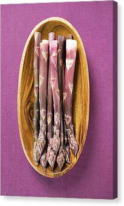 Wooden Bowl Canvas Print - Purple Asparagus In Wooden Bowl (overhead View) by Foodcollection