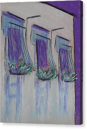 Purple Balconies Canvas Print by Marcia Meade