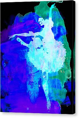 Purple Ballerina Watercolor Canvas Print by Naxart Studio