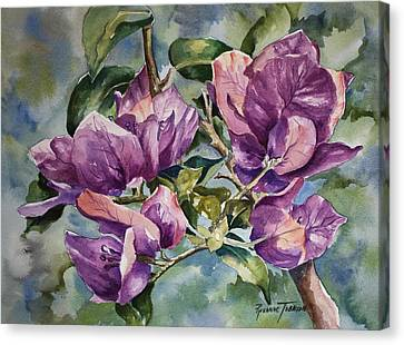 Canvas Print featuring the painting Purple Beauties - Bougainvillea by Roxanne Tobaison