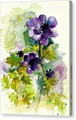 Purple Blue Anemones - Flowers Watercolor Canvas Print by Tiberiu Soos