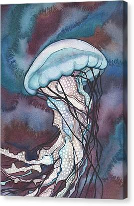 Canvas Print featuring the painting Purple Bold Jellyfish by Tamara Phillips