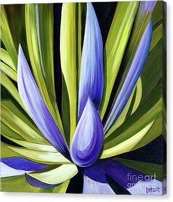 Purple Cactus Canvas Print by Debbie Hart
