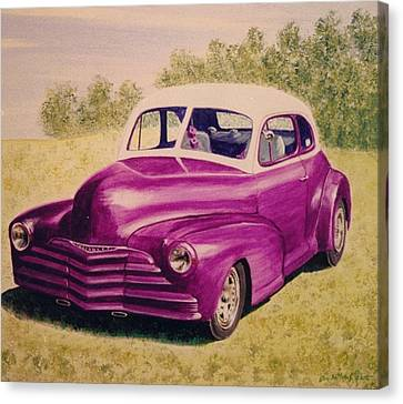 Canvas Print featuring the painting Purple Chevrolet by Stacy C Bottoms