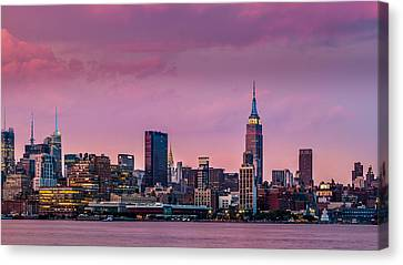 Canvas Print featuring the photograph Purple City by Mihai Andritoiu