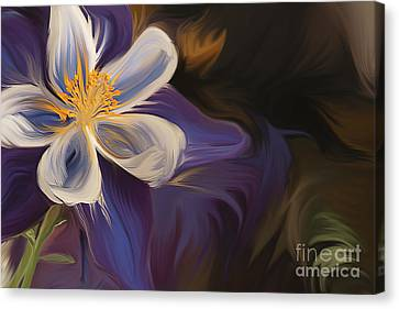 Purple Columbine Canvas Print by K Powers Photography