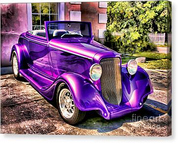 Canvas Print featuring the photograph Purple Custom Roadster by Clare VanderVeen