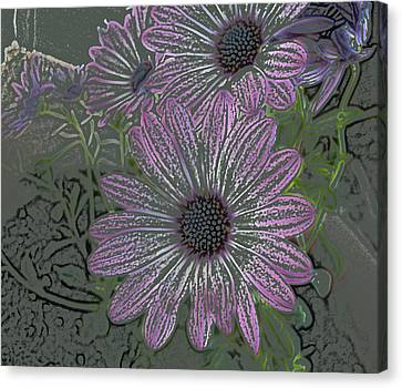 Purple Daisies Canvas Print by Lovina Wright