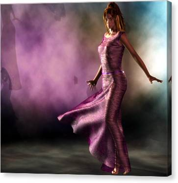 Canvas Print featuring the digital art Purple Dancer by Kaylee Mason