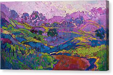 Canvas Print featuring the painting Purple Dawn by Erin Hanson