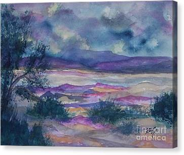 Purple Dusk Settles On The Painted Desert Canvas Print by Ellen Levinson