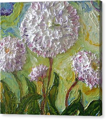 Purple English Daisy Canvas Print by Paris Wyatt Llanso