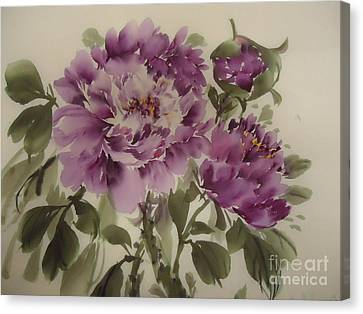 Canvas Print featuring the painting Purple Flower by Dongling Sun