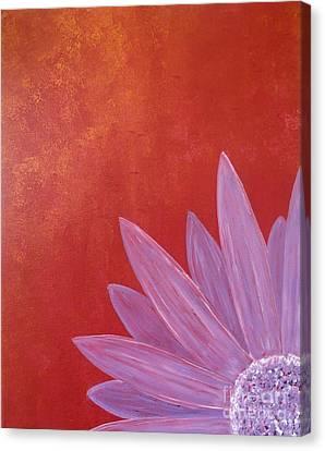 Purple Flower - Red Metallic Background Canvas Print