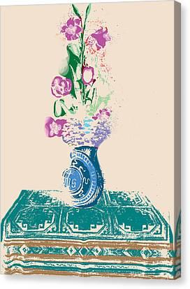 Purple Flowers Canvas Print - Purple Flowers Altarpiece by