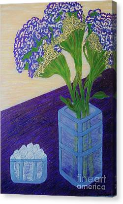 Canvas Print featuring the painting Purple Flowers And Ice by Jasna Gopic