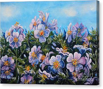 Purple Flowers Canvas Print by Drinka Mercep