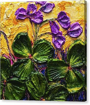 Purple Flowers Shamrocks Canvas Print by Paris Wyatt Llanso