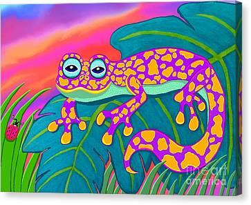 Purple Gecko Canvas Print by Nick Gustafson