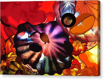 Canvas Print featuring the digital art Purple Glass In Sea Of Red by Kirt Tisdale