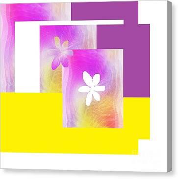 Canvas Print featuring the digital art Purple Glow Flower by Ann Calvo