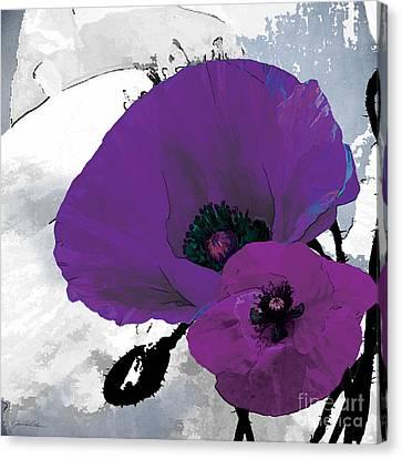 Purple Grey Poppy A Canvas Print by Grace Pullen