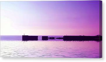Port Town Canvas Print - Purple Harbor by Sharon Lisa Clarke