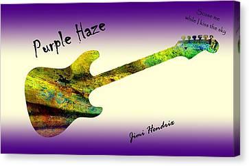 Purple Haze Scuse Me While I Kiss The Sky Hendrix Canvas Print by David Dehner