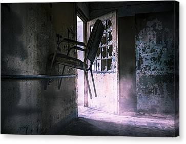 Purple Haze - Strange Scene In An Abandoned Psychiatric Facility Canvas Print by Gary Heller