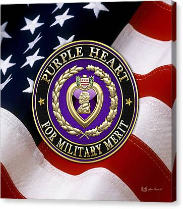 Purple Heart Over American Flag Canvas Print by Serge Averbukh