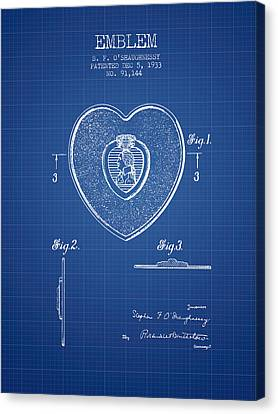 Purple Heart Patent From 1933 - Blueprint Canvas Print by Aged Pixel