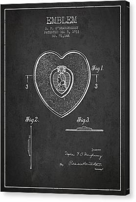 Purple Heart Patent From 1933 - Charcoal Canvas Print by Aged Pixel