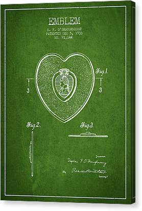 Purple Heart Patent From 1933 - Green Canvas Print by Aged Pixel