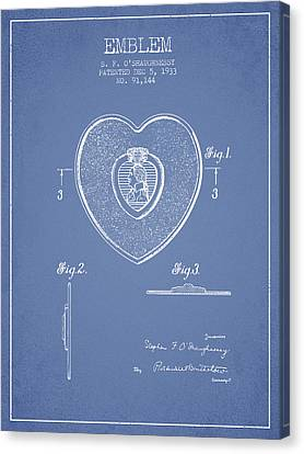 Purple Heart Patent From 1933 - Light Blue Canvas Print by Aged Pixel