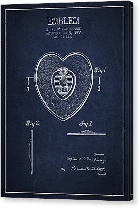 Purple Heart Patent From 1933 - Navy Blue Canvas Print by Aged Pixel