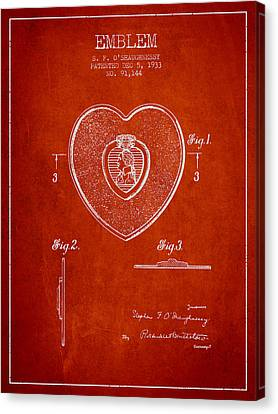 Purple Heart Patent From 1933 - Red Canvas Print by Aged Pixel