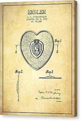 Purple Heart Patent From 1933 - Vintage Canvas Print by Aged Pixel