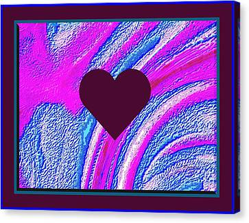 Purple Heart Twirl Triple Border Valentine Large Signature Canvas Print