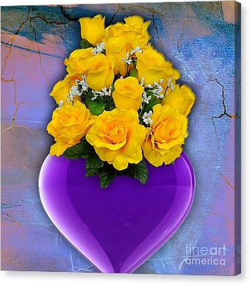 Purple Heart Vase With Yellow Roses Canvas Print by Marvin Blaine