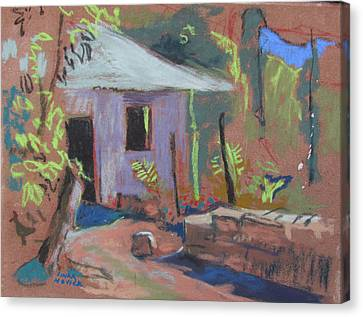 Canvas Print featuring the painting Purple House by Linda Novick