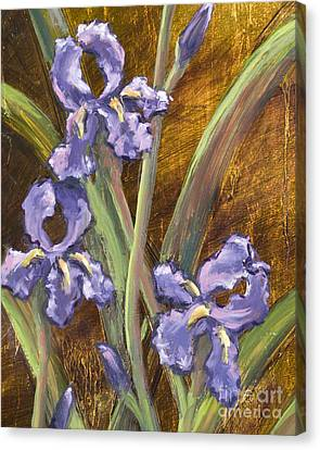 Purple Iris II With Gold Leaf Canvas Print by Vic  Mastis