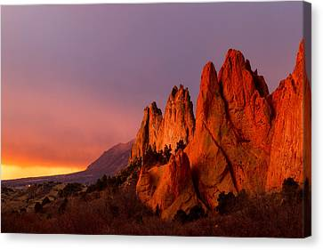 Canvas Print featuring the photograph Purple Morning At Garden Of The Gods by Ronda Kimbrow