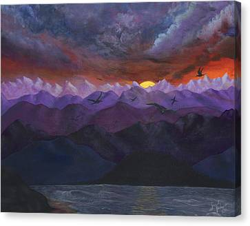 Purple Mountain Sunset Canvas Print by Sandy Jasper